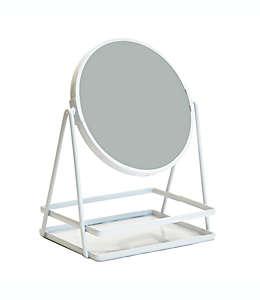 Espejo para baño con bandeja en blanco