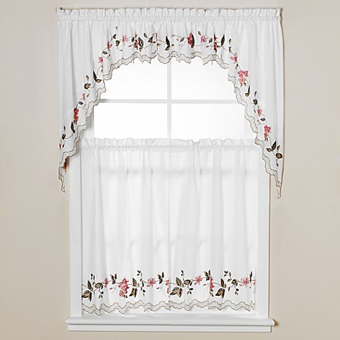 Buy floral trellis 36 inch window curtain tiers from bed bath beyond for 36 inch bathroom window curtains