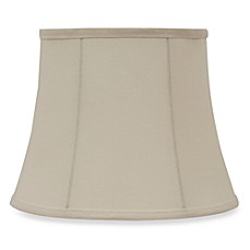 image of Mix & Match Small 11-Inch Linen Modified Bell Lamp Shade in Ivory