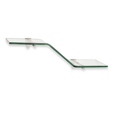 John Sterling 6-Inch x 18-Inch Decorative Glass Wave Shelf