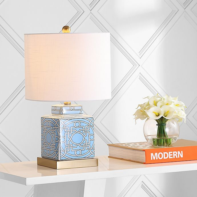 Jonathan Y Catherine 22 Ceramic Metal Ginger Jar Led Table Lamp In Blue Bed Bath Beyond