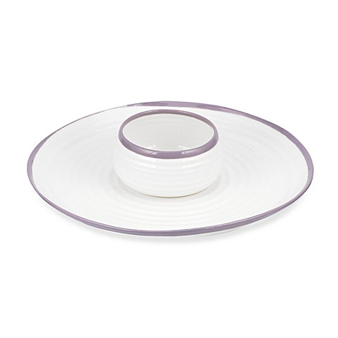 Carnivale 12-Inch Chip and Dip Set in White and Mulberry