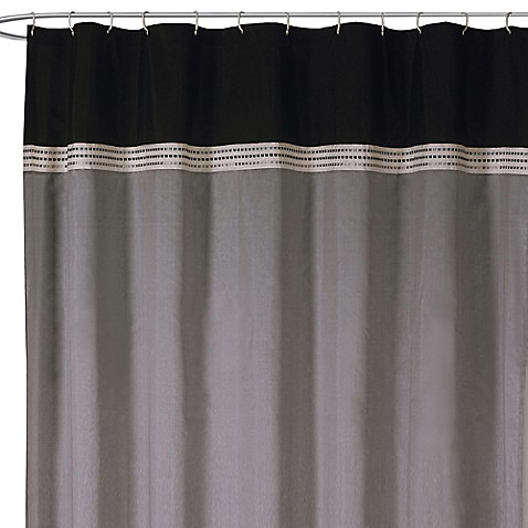 Terra Black and Silver Fabric Shower Curtain - Bed Bath ...