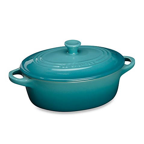 buy le creuset 12 oz mini oval stoneware cocotte in caribbean from bed bath beyond. Black Bedroom Furniture Sets. Home Design Ideas