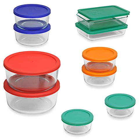 Pyrex storage plus 20 piece container set with color lids for Bathroom containers with lids