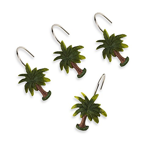 palm tree shower curtain hooks