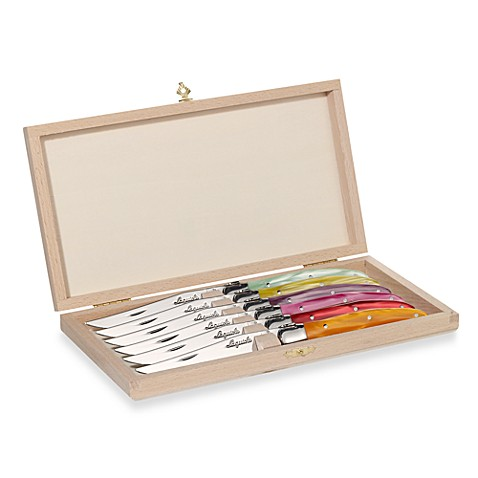 Buy Laguiole 6 Piece Steak Knife Set With Colored Handles
