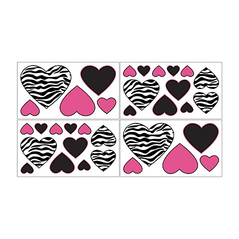 Sweet Jojo Designs Funky Zebra Wall Decals in Pink - Bed ...