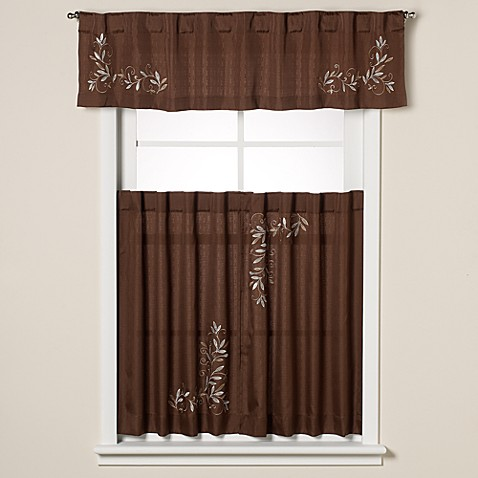 Buy scroll leaf window curtain valance in mocha from bed for Window scroll