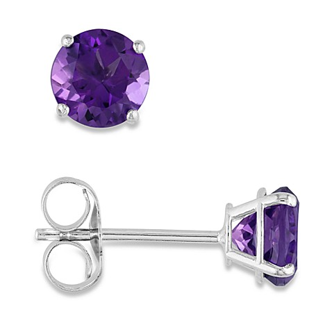 14K White Gold, Round Amethyst Pin Earrings