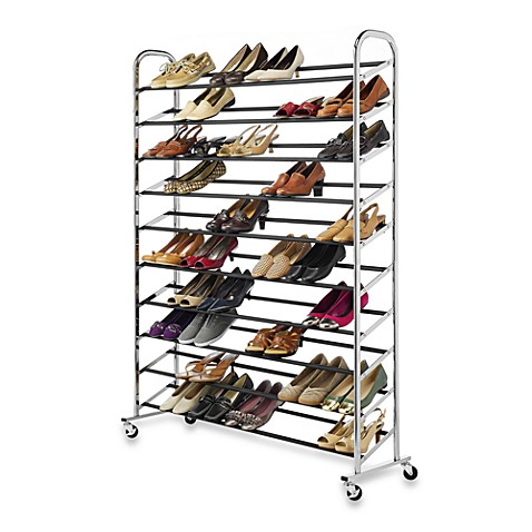 image of 60pair rolling shoe rack in chrome