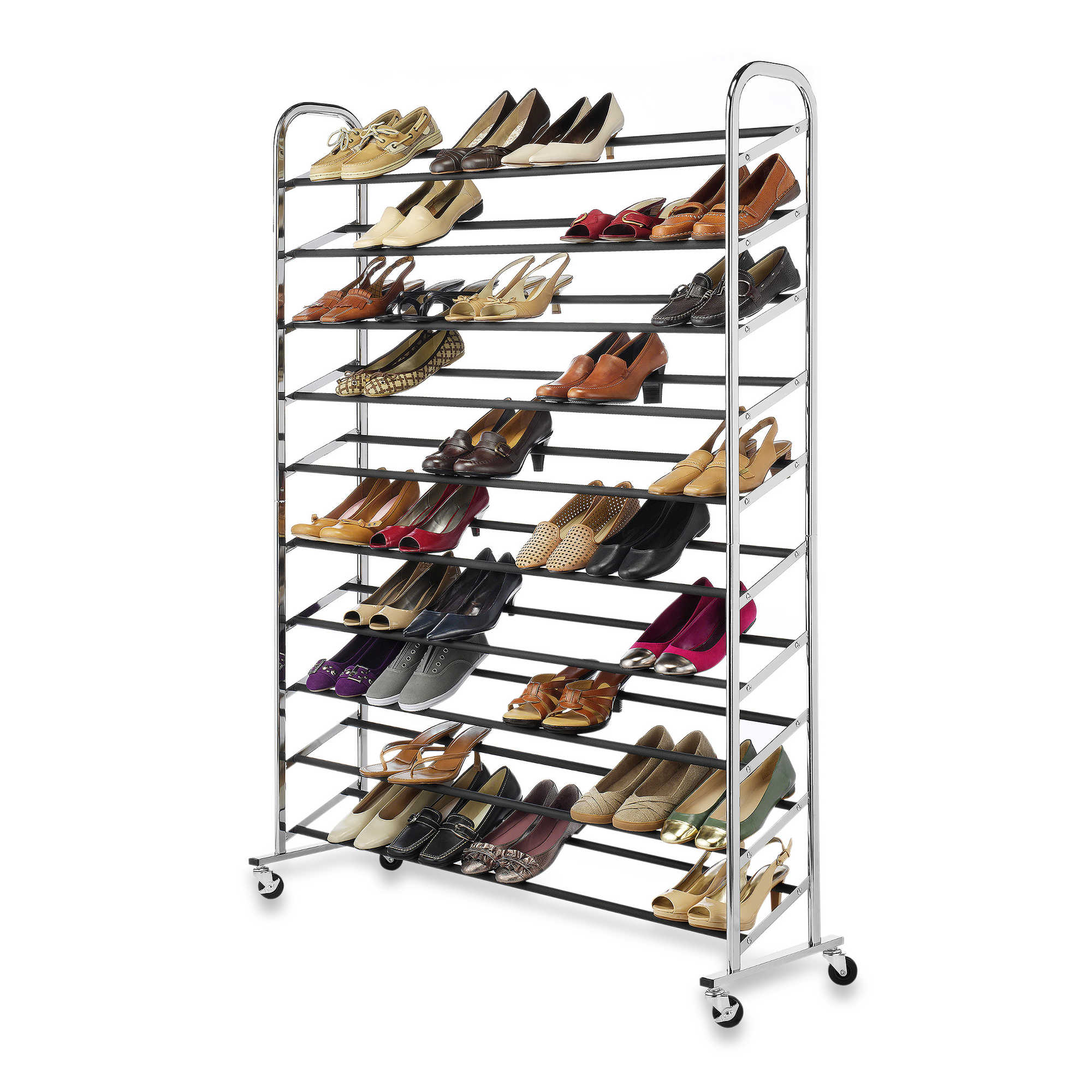 Shoe Rack 60 Pair Rolling Shoe Rack In Chrome Bed Bath Beyond