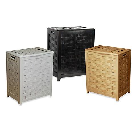 Oceanstar Rectangular Front Veneer Wood Laundry Hampers