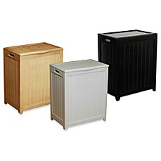 image of oceanstar rectangular front wood laundry hampers