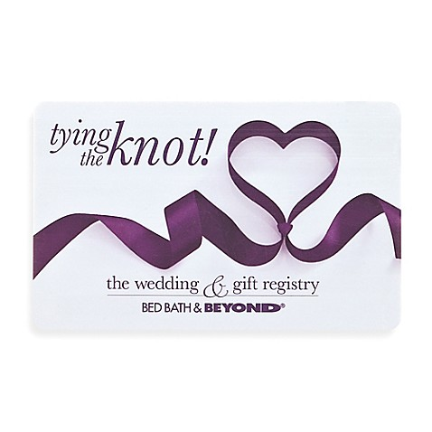 Tying the knot ribbon heart gift card bed bath beyond for Wedding registry the knot