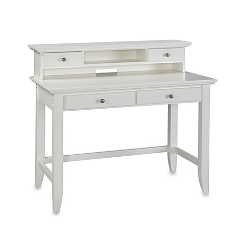 Home Styles Bedford Student Desk with Hutch in White