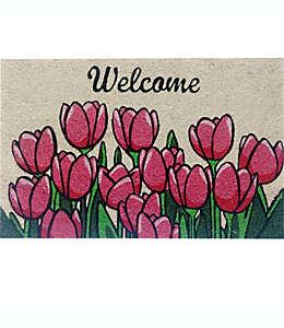 """Tapete para entrada First Concept Inc. con tulipanes y frase """"Welcome"""" de 45.72 x 76.2 cm"""