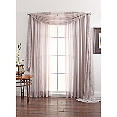 image of Linen Sheer 108-Inch Window Curtain Panel in Silver
