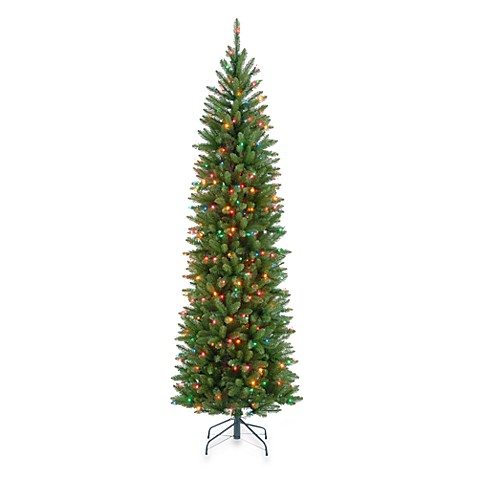 buy national tree company 7 5 foot kingswood fir pre lit pencil christmas tree with multicolor. Black Bedroom Furniture Sets. Home Design Ideas