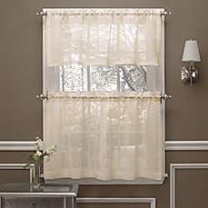 Beau Image Of Crushed Voile Window Curtain Tier Pair And Valance
