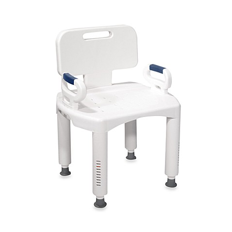 image of drive medical premium bath seat with back and arms in white