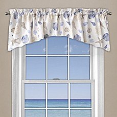 image of Seashore Coral Window Curtain Valance in Blue