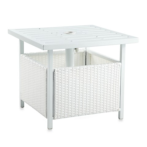 Buy Wicker Umbrella Side Table In White From Bed Bath Amp Beyond