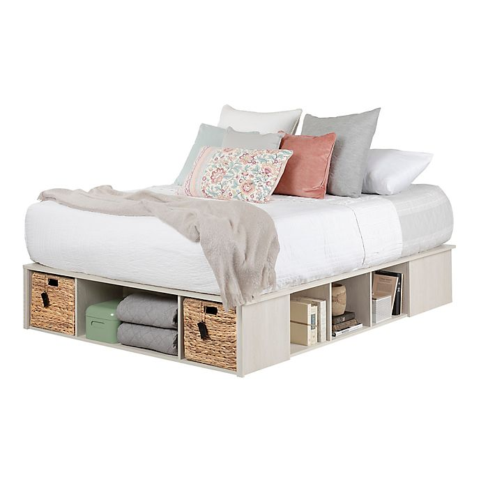 South Shore Avilla Platform Storage Bed In Winter Oak Bed Bath And Beyond Canada