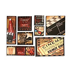 image of lights camera action 8 piece wall art - Music Wall Decor