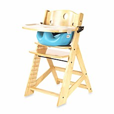 image of Keekaroo® Height Right High Chair Natural with Aqua Infant Insert and Tray