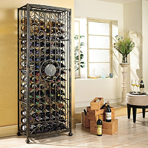 Wine Enthusiast 96 Bottle Antiqued Steel Wine Jail Bed
