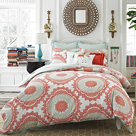 Anthologyâ?¢ Bungalow Reversible Comforter Set in Coral - Bed Bath ... : coral colored quilt - Adamdwight.com