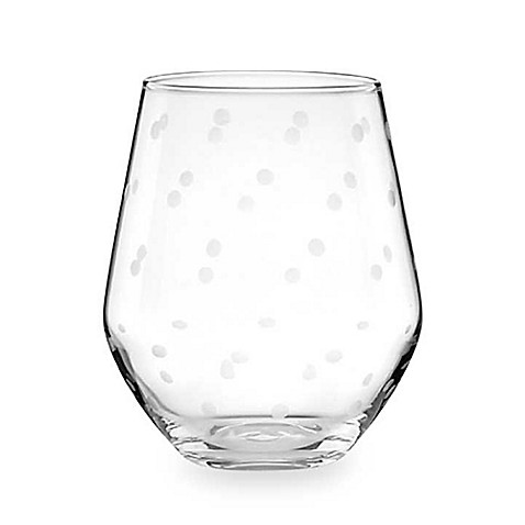 Kate spade new york larabee dot stemless wine glass set for Bed bath and beyond kate spade