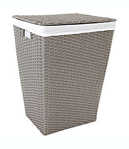 Cesto rectangular para ropa ORG de poliratán en gris