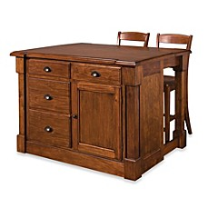 Image Of Home Styles Aspen Rustic Cherry Kitchen Island With Barstools