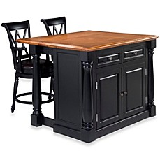 image of Home Styles Monarch 3-Piece Kitchen Island with Oak Top and Two Stools