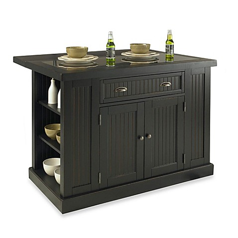Home Styles Nantucket Hardwood Kitchen Island - Black