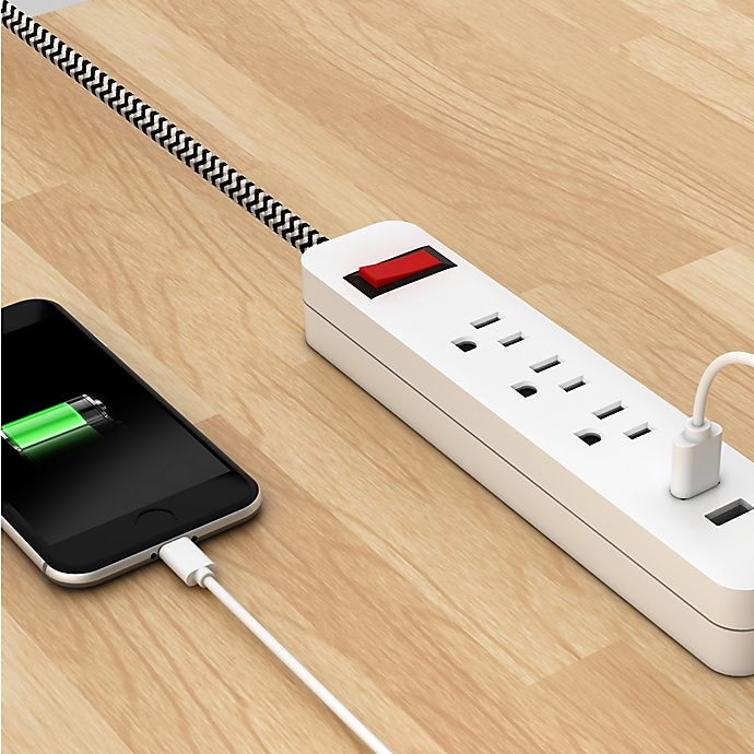 Link2home Power Strip Surge Protector In Black White Bed Bath Beyond