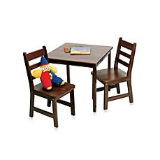 image of Lipper International Square Table & 2 Chairs Set in Walnut Finish
