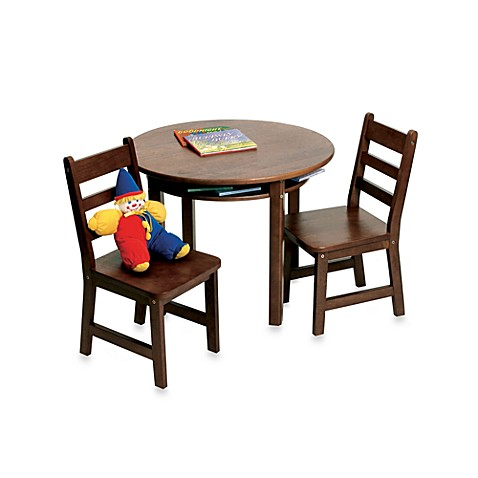 lipper international child 39 s round table 2 chairs set in walnut buybuy baby. Black Bedroom Furniture Sets. Home Design Ideas