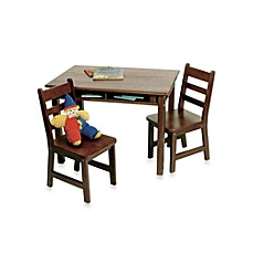 image of Lipper International Child's Rectangle Table with Shelves & Chairs Set in Walnut