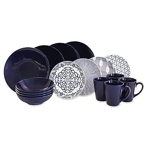 Baum Brothers 16-Piece Dinnerware Set in Blue/White - Bed Bath & Beyond
