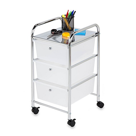 Honey Can Dou0026reg; Steel 3 Drawer Rolling Storage Cart