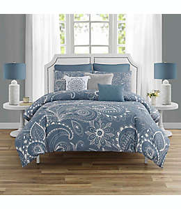 Set de edredón matrimonial/queen de poliéster WC Home Fashions Everly color azul mezclilla, 8 piezas