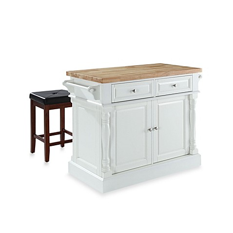 buy crosley butcher block top kitchen island in white with