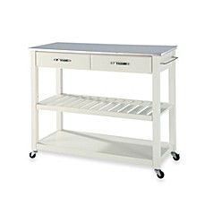 image of Crosley Stainless Steel Top Rolling Kitchen Cart/Island With Removable Shelf