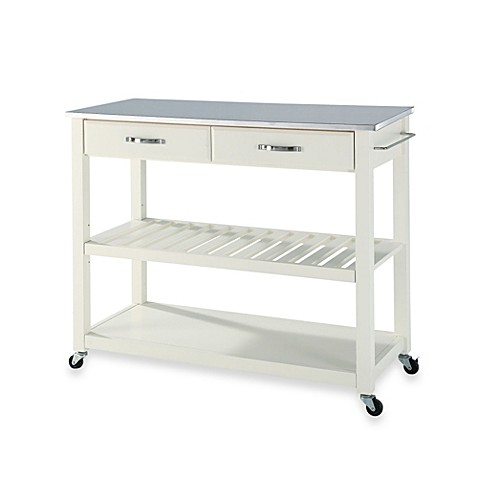 Image Of Crosley Stainless Steel Top Rolling Kitchen Cart Island With Removable Shelf