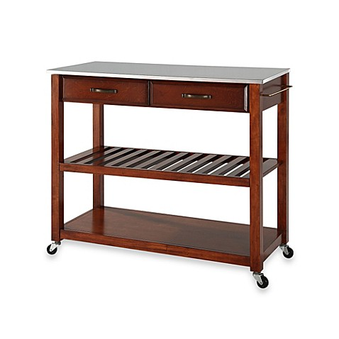 Buy Crosley Stainless Steel Top Rolling Kitchen Cart Island With Removable Shelf In Classic
