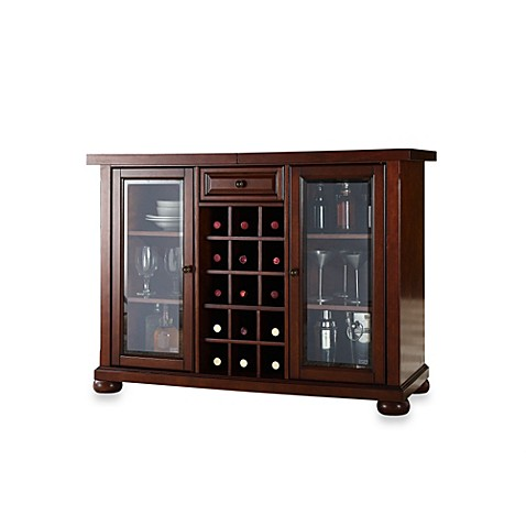 image of crosley alexandria sliding top bar cabinet