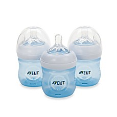 image of Philips Avent Natural 4-Ounce Bottle in Blue (3-Pack)
